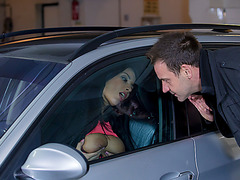at the parking lot hot Anissa seduces her textmate guy into fucking her