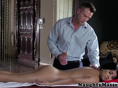 Massage babe Megan Salinas pussyfucked