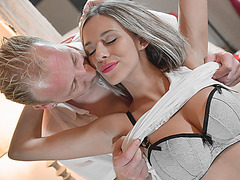 When hot Tracy wants to fuck she will stop at nothing to get the cock of bf