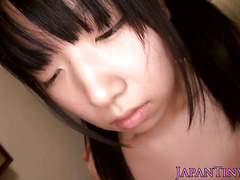 Pigtailed tiny Japanese doll gives pov bj