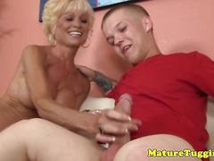 Tattooed granny tugging midgets hard cock