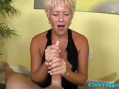 POV tug fun with mature pornstar Tracy licks