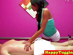 Massage asian gives handjob to client