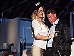 Natalia fucks the hot security guard