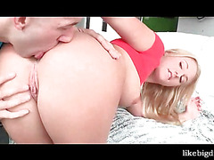 Gorgeous blonde blows and chokes on big cock