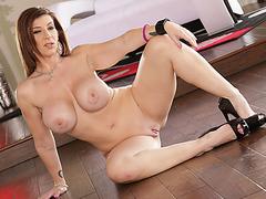 Hot busty Sarah Jay wetly slurps a gigantic veiny black manhood