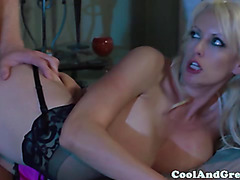 Busty goddess in stockings being fucked doggystyle