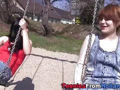 Teen lez climax in park