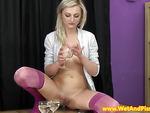 Goldenshower babe masturbating and pissing