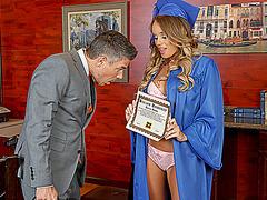 Pretty schoolgirl Alexis Adams fucks her prof on graduation