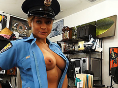 Sexy and brunette latina police officer gets her pussy fucked