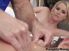 Lez massage babe August Ames shares masseurs cock