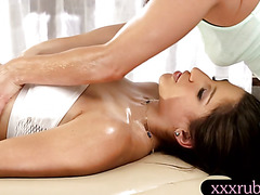 Hot masseuse Gracie Glam lesbian sex with her pretty client