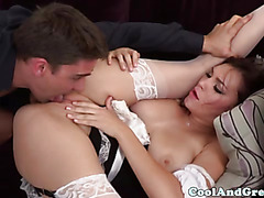 Busty frenchmaid dancing and giving a bj