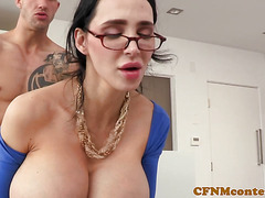 Hugetitted milf femdom demands sub fucking