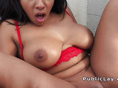 Petite Latina with huge tits in public