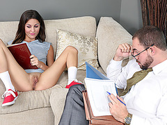 Super hot and brunette Renee Roulette gets fucked by dads friend