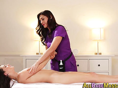 Stunning masseuse licked
