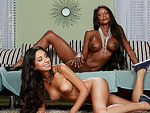 Slutty ebony stepmom catches teen blowing so she joins the fun