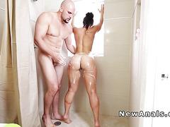 Big booty babe anal banged till facial