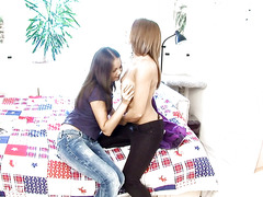 Young girls Dulce and Malin from Sapphic Erotica lesbian fuck with a dildo on the bed