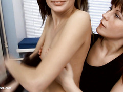 Orina and Anise hot lesbian brunettes fuck near the computer by Sapphic Erotica