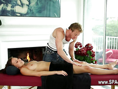 adorable babes on special massage bed