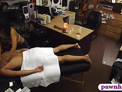 Super slim Asian girl pawns her massage table and fucked