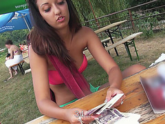 Naughty Casey is spotted by dude and gets banged in the woods