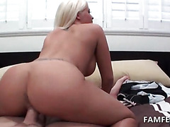 Splendid blonde riding cock in reverse in POV