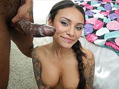 Sweet latina Natalia Mendez fucks black cock
