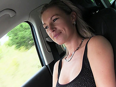 Slutty and brunette hitchhiker Alena gets spotted and hammered by dude