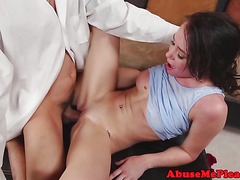 Amateur babe gagging on cock then doggystyled