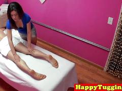 Petite asian handjob loving masseuse with piercing