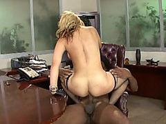 Black Judge Rocks Stunning Blonde MILF In His Office