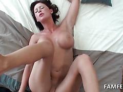 Huge tits brunette banged on her back in POV