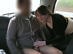 Hot brunette girlfriend Sam gets fucked by the taxi driver
