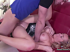 Adorable babe fucked on the couch
