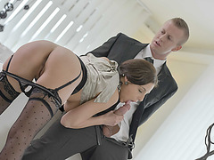 Hot Antonia Sainz gets tight wet pussy deeply fucked int he office