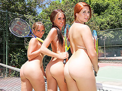 Tennis court sex action with busty teen