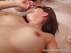 Hairy Asian Squirts in 3some