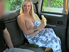 Lucky blonde chick gets hardcore anal sex inside the cab