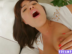 Pussy cumshot for brunette Ava Dalush after fucking