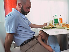 Slutty Daughter Alyssa Sucks Dick Under Table And Gets Fucked Hard