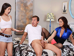 Amazing couple Lucy with her bf and milf Syren in hot threesome