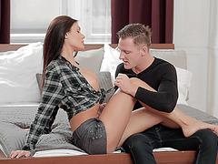 Hot babe Kitana fucks the boss boyfriend at the office