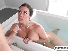 Sexy Milf punished stepson by sneaking on her in the bathtub
