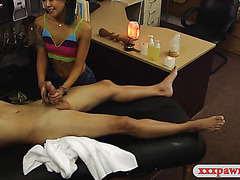 Asian girl pawns her massage table and boned by pawn man