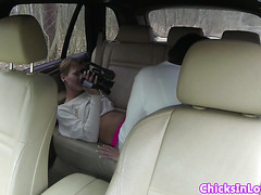 Euro lesbians in car licking pussy