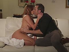Redhead big tits slut pounding big dick on couch